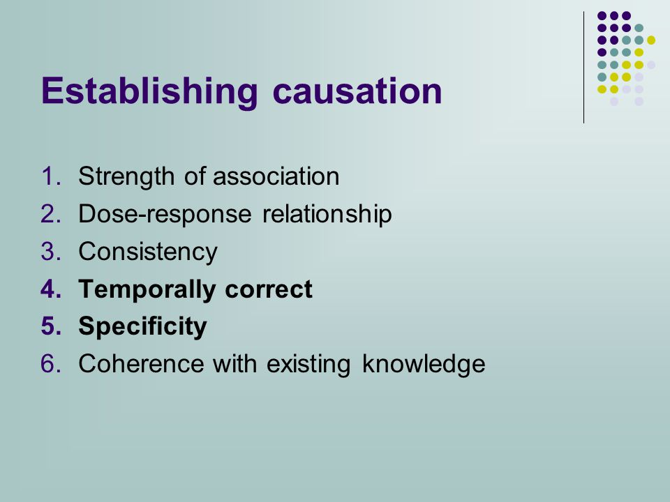 Establishing causation 1.Strength of association 2.Dose-response relationship 3.Consistency 4.Temporally correct 5.Specificity 6.Coherence with existing knowledge