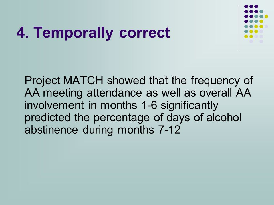 4. Temporally correct Project MATCH showed that the frequency of AA meeting attendance as well as overall AA involvement in months 1-6 significantly p