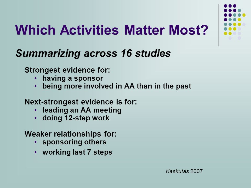 Which Activities Matter Most.
