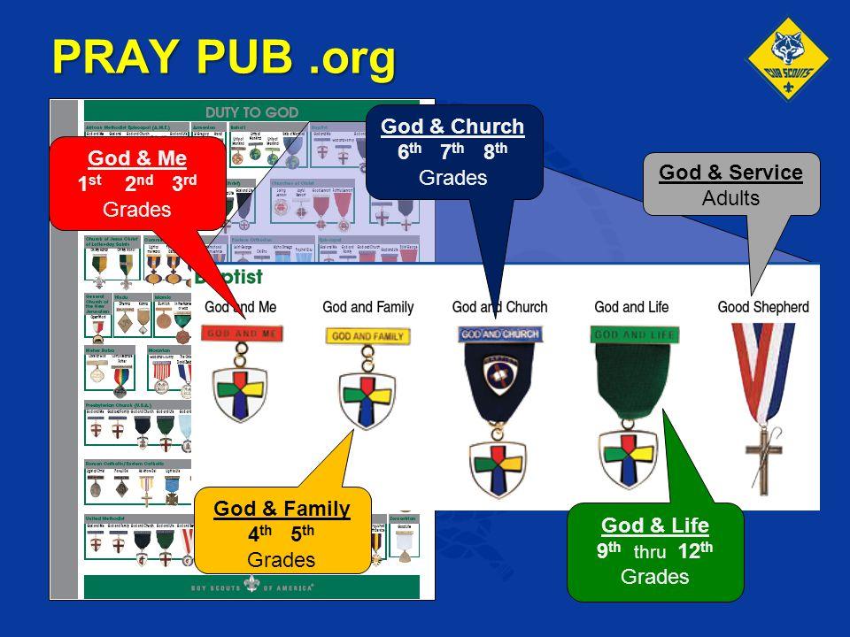God & Me 1 st 2 nd 3 rd Grades God & Family 4 th 5 th Grades God & Church 6 th 7 th 8 th Grades God & Life 9 th thru 12 th Grades God & Service Adults
