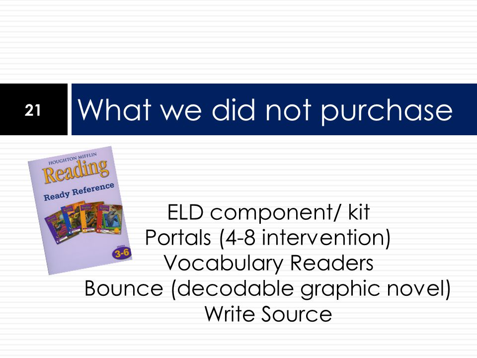 ELD component/ kit Portals (4-8 intervention) Vocabulary Readers Bounce (decodable graphic novel) Write Source What we did not purchase 21
