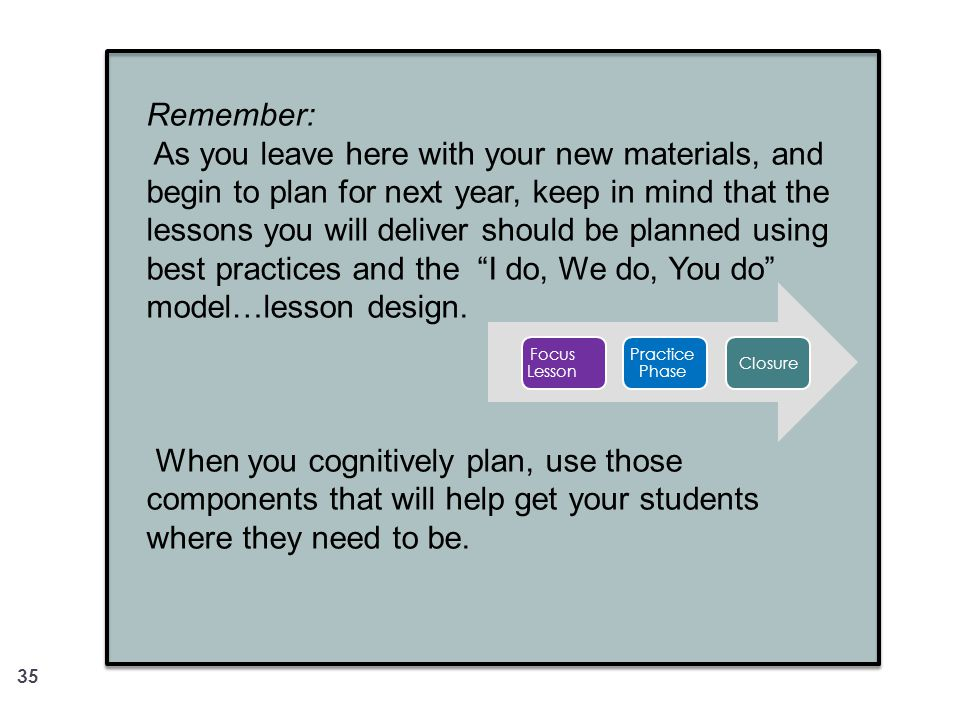 35 Remember: As you leave here with your new materials, and begin to plan for next year, keep in mind that the lessons you will deliver should be plan