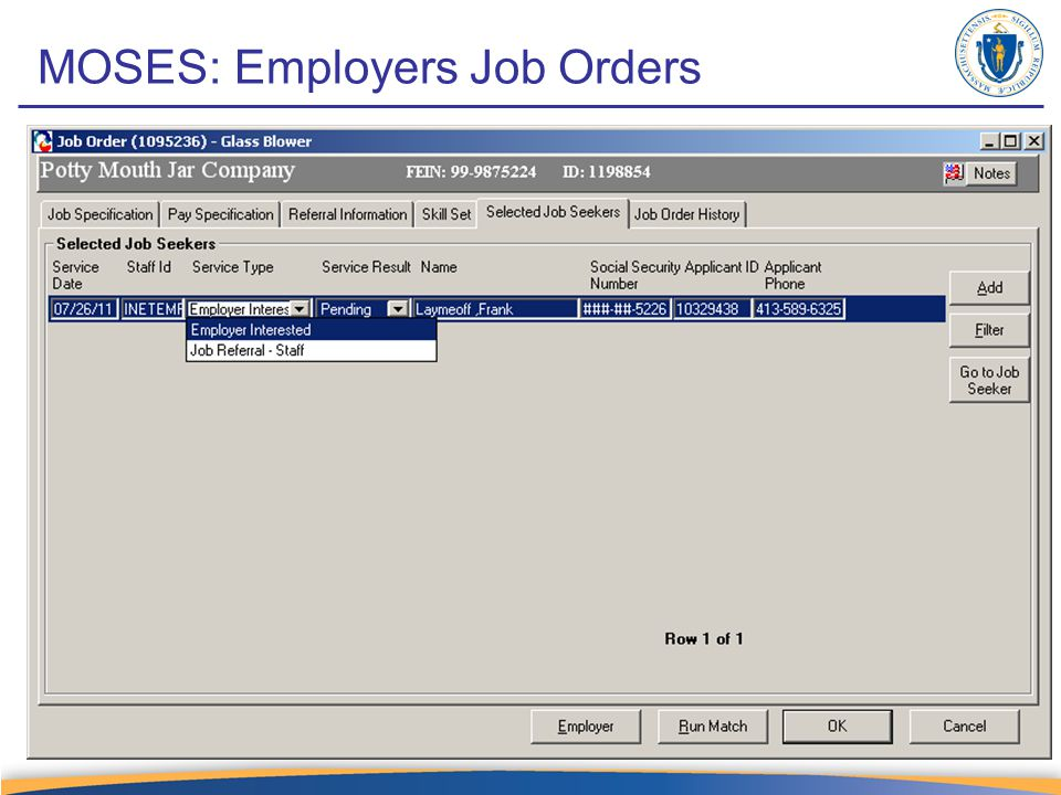 MOSES: Employers Job Orders