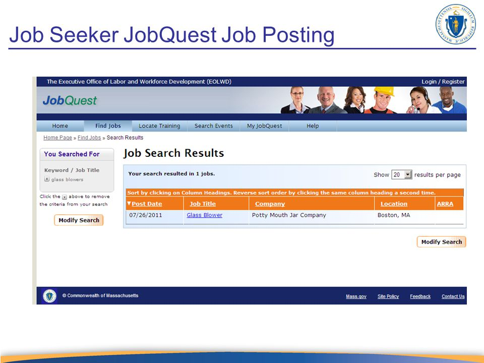 Job Seeker JobQuest Job Posting