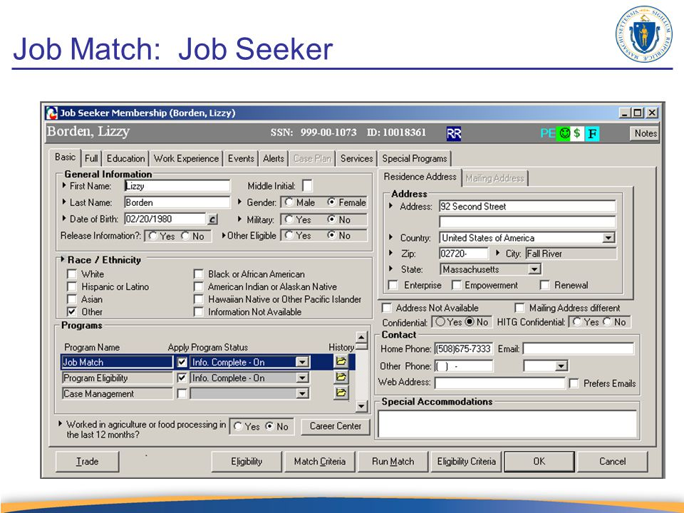 Job Match: Job Seeker