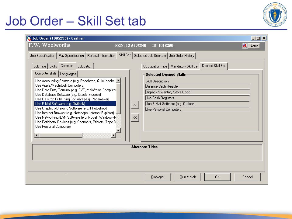 Job Order – Skill Set tab