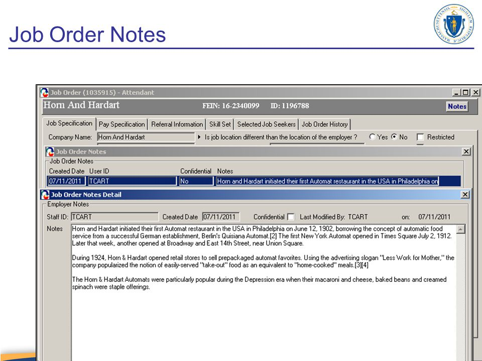 Job Order Notes