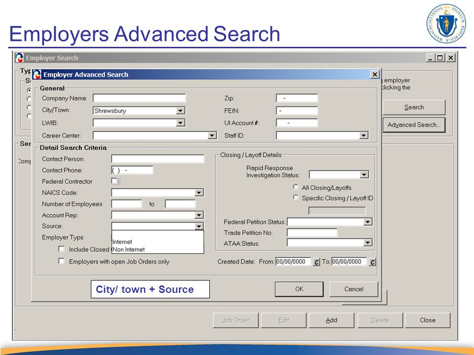 Employers Advanced Search City/ town + Source