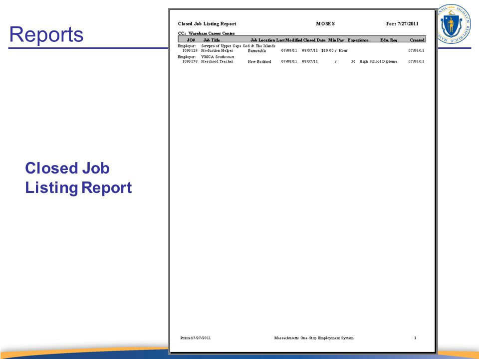 Closed Job Listing Report