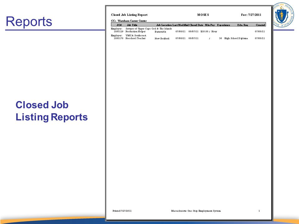 Reports Closed Job Listing Reports