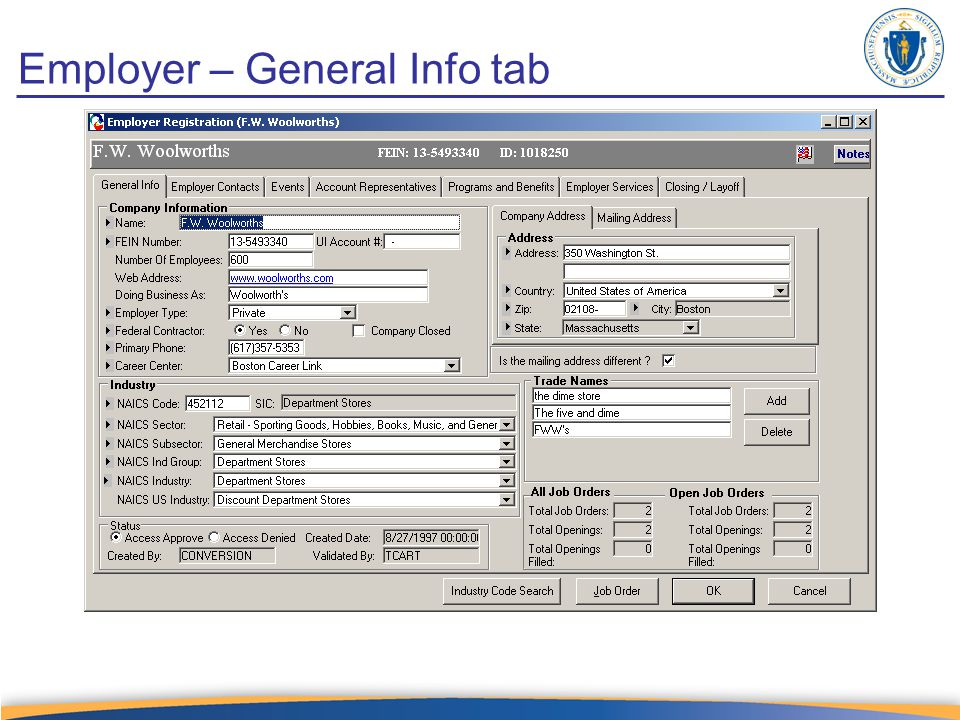 Employer – General Info tab