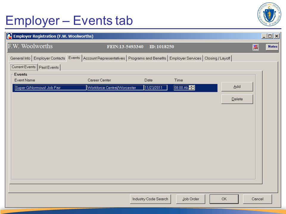 Employer – Events tab