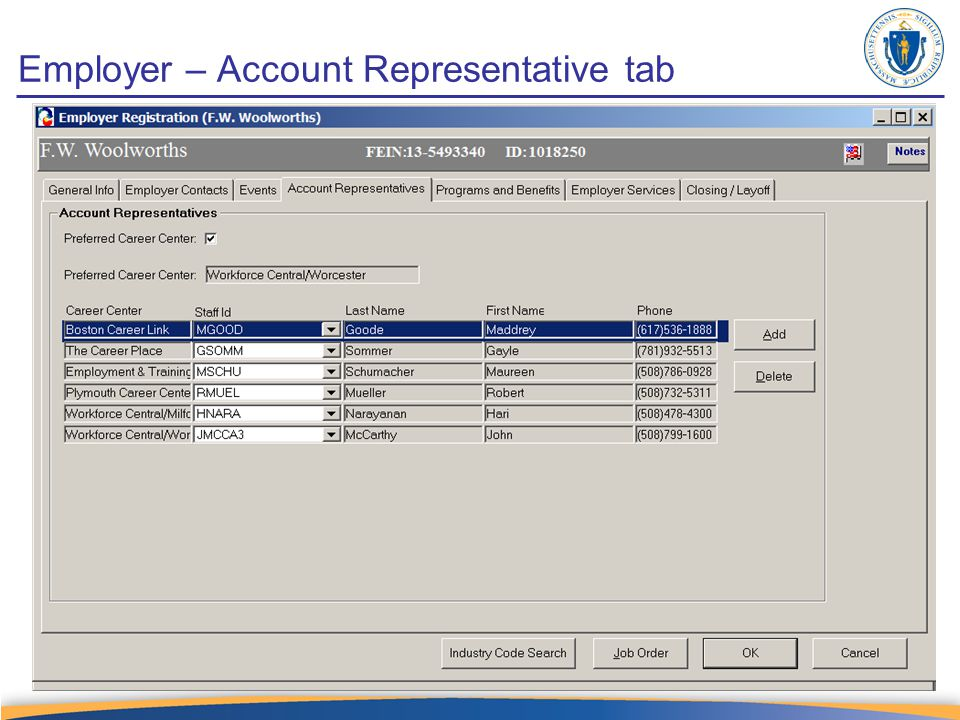 Employer – Account Representative tab