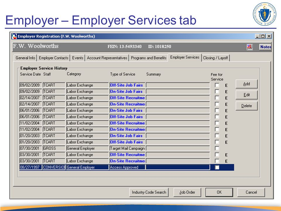 Employer – Employer Services tab