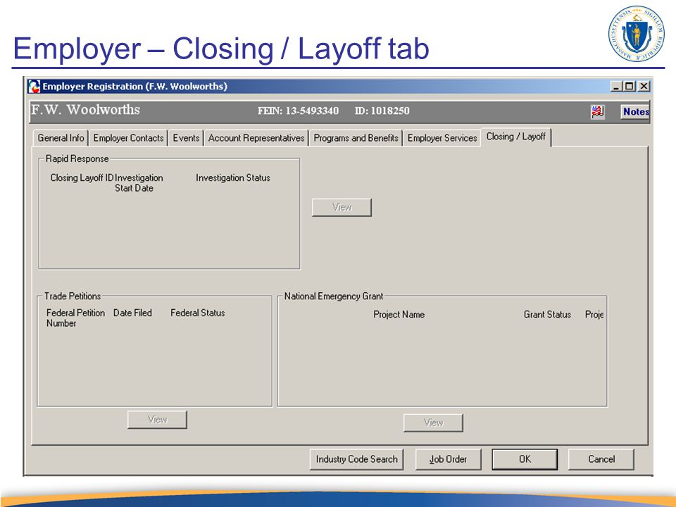 Employer – Closing / Layoff tab