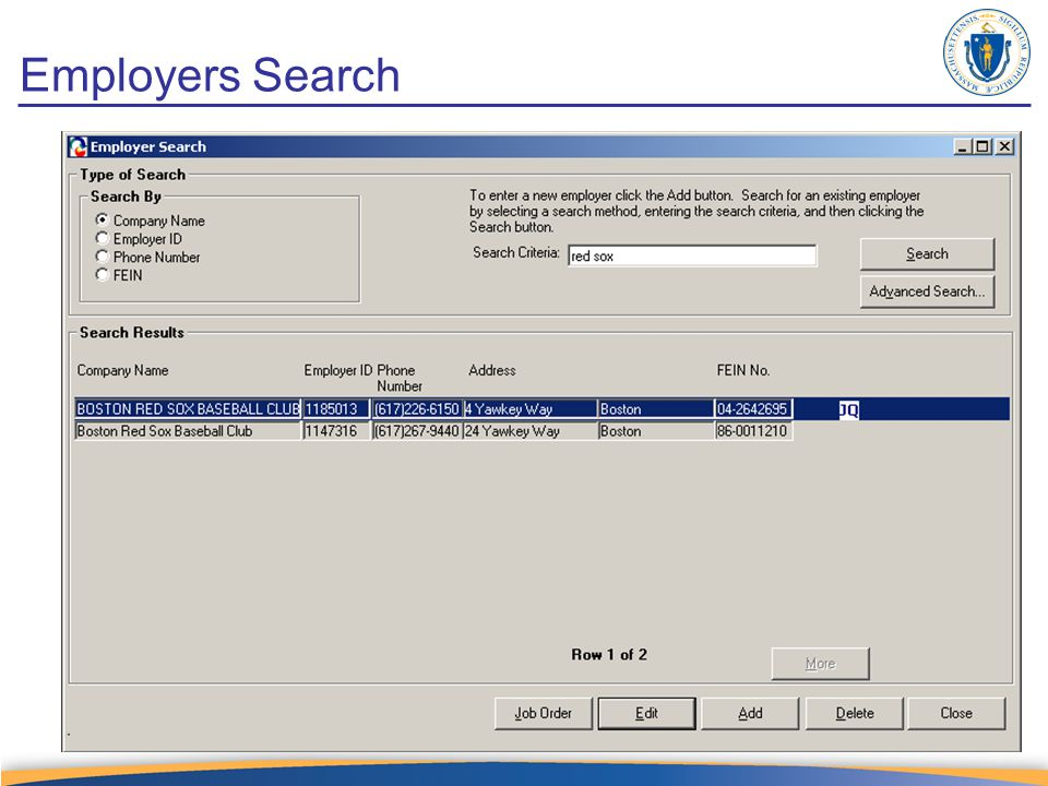 Job Order – Selected Job Seeker tab