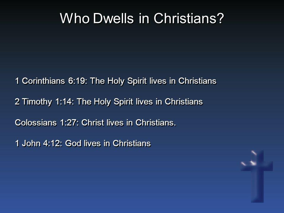 Who Dwells in Christians? 1 Corinthians 6:19: The Holy Spirit lives in Christians 2 Timothy 1:14: The Holy Spirit lives in Christians Colossians 1:27: