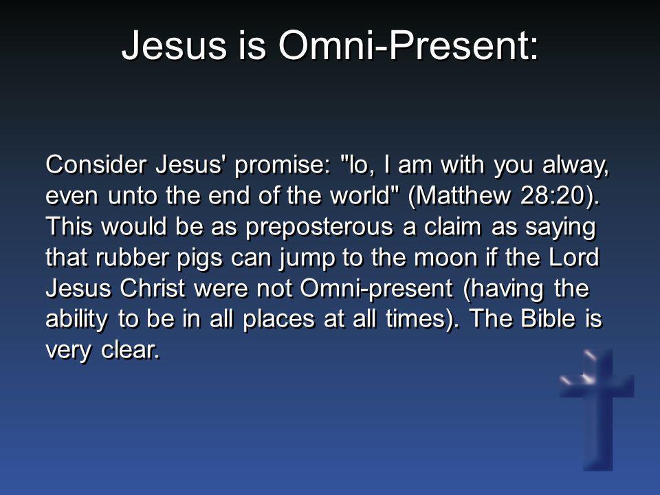 Consider Jesus' promise: