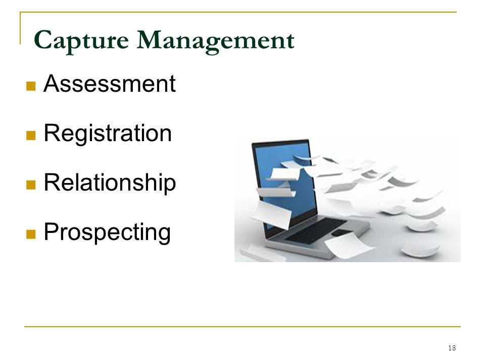 Capture Management Assessment Registration Relationship Prospecting 18