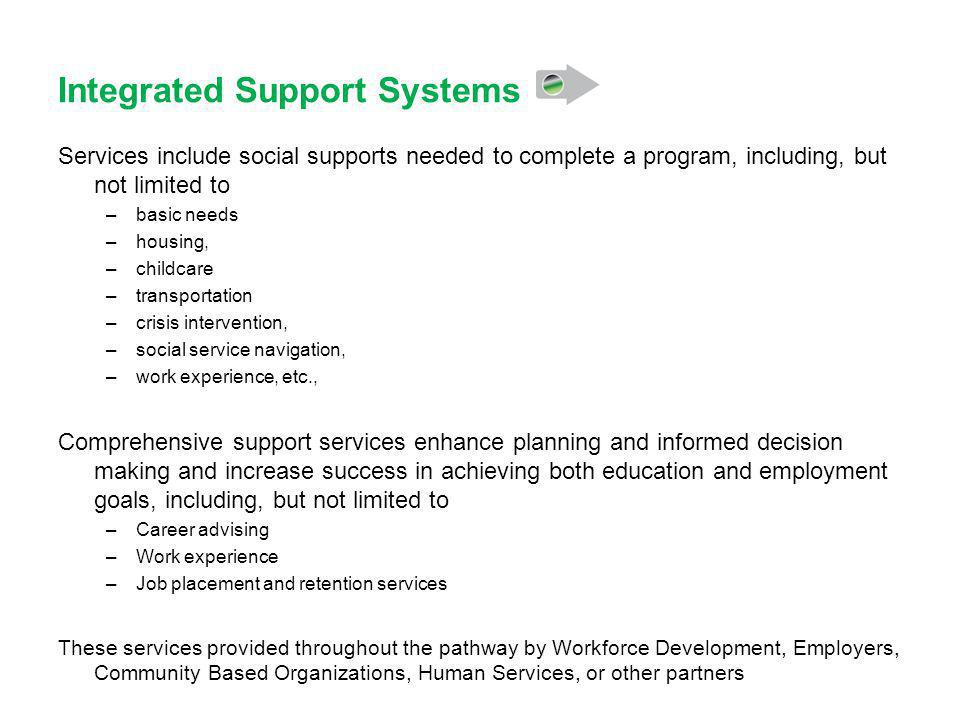 Integrated Support Systems Services include social supports needed to complete a program, including, but not limited to –basic needs –housing, –childcare –transportation –crisis intervention, –social service navigation, –work experience, etc., Comprehensive support services enhance planning and informed decision making and increase success in achieving both education and employment goals, including, but not limited to –Career advising –Work experience –Job placement and retention services These services provided throughout the pathway by Workforce Development, Employers, Community Based Organizations, Human Services, or other partners