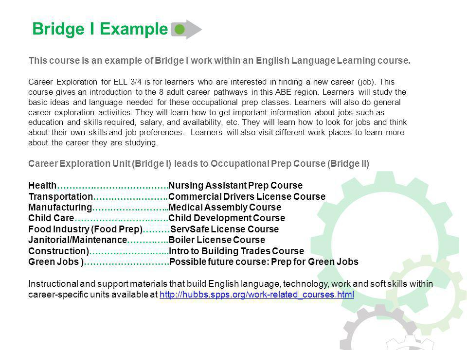 This course is an example of Bridge I work within an English Language Learning course.