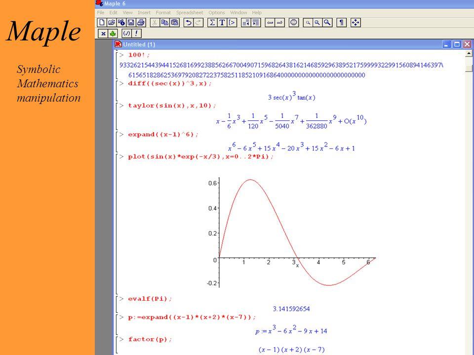 Maple Symbolic Mathematics manipulation
