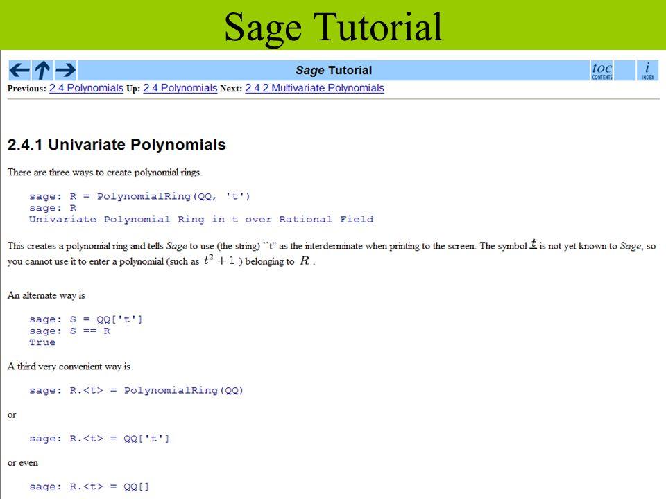 Sage Tutorial