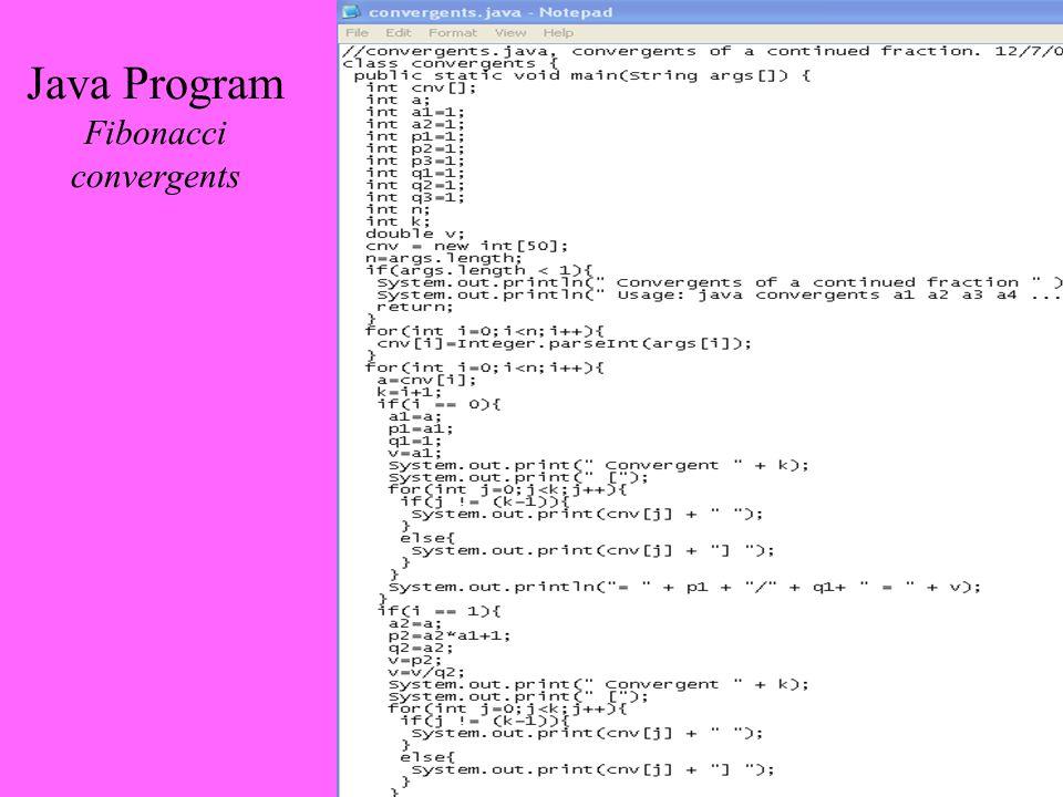 Java Program Fibonacci convergents