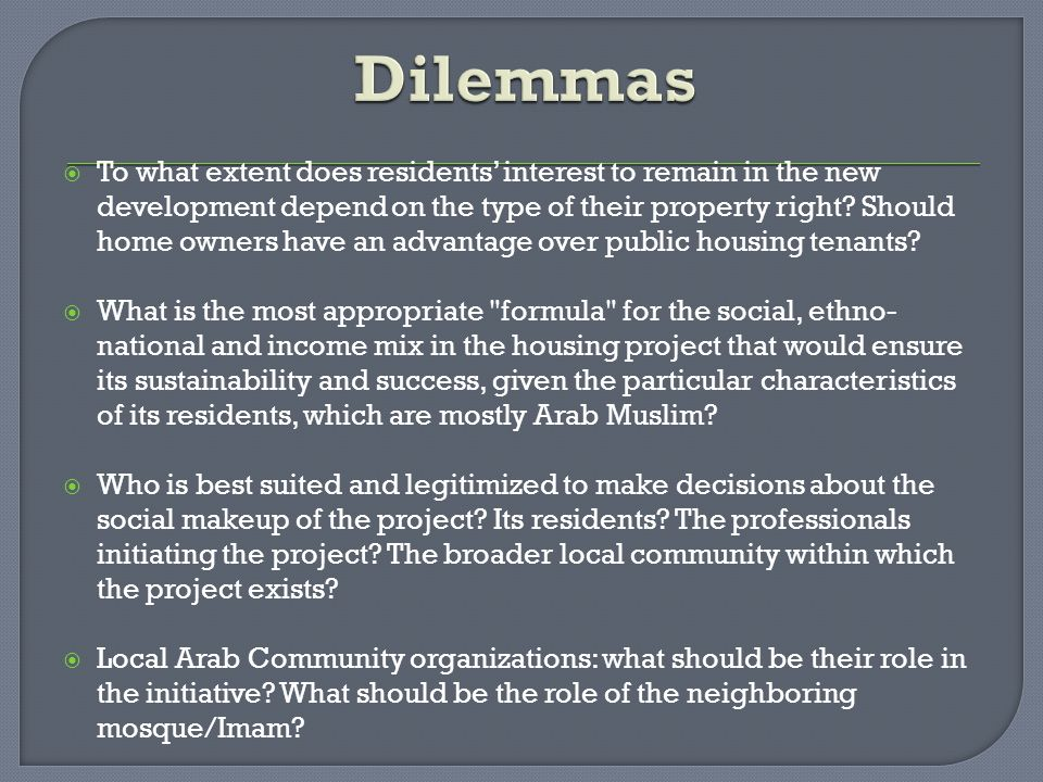  To what extent does residents' interest to remain in the new development depend on the type of their property right? Should home owners have an adva