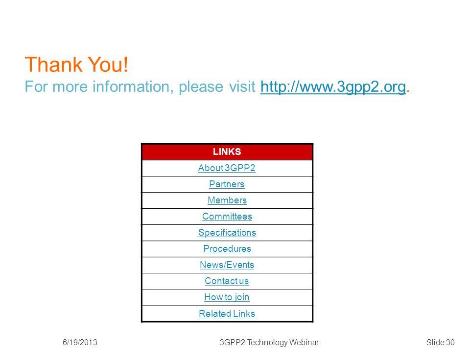 6/19/20133GPP2 Technology WebinarSlide 30 Thank You.