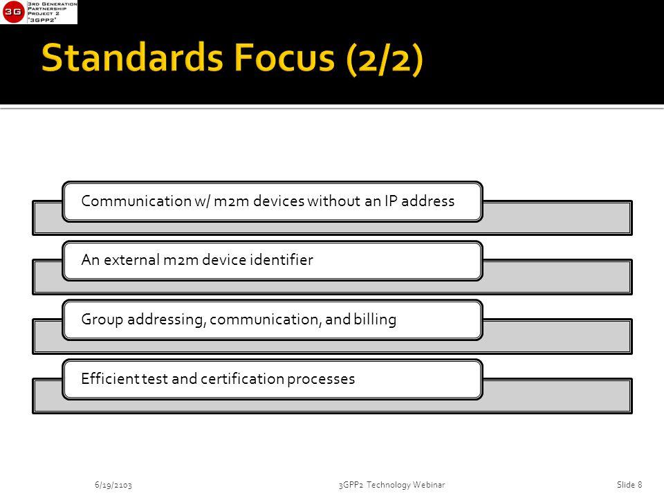 Communication w/ m2m devices without an IP addressAn external m2m device identifierGroup addressing, communication, and billingEfficient test and certification processes 6/19/21033GPP2 Technology WebinarSlide 8