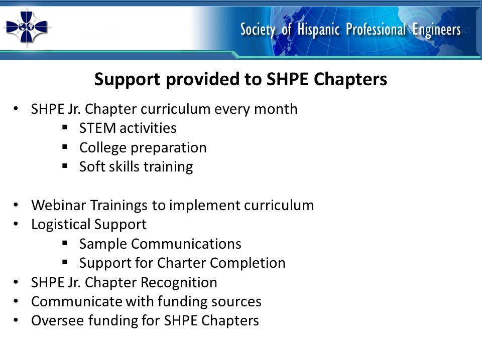 Support provided to SHPE Chapters SHPE Jr.