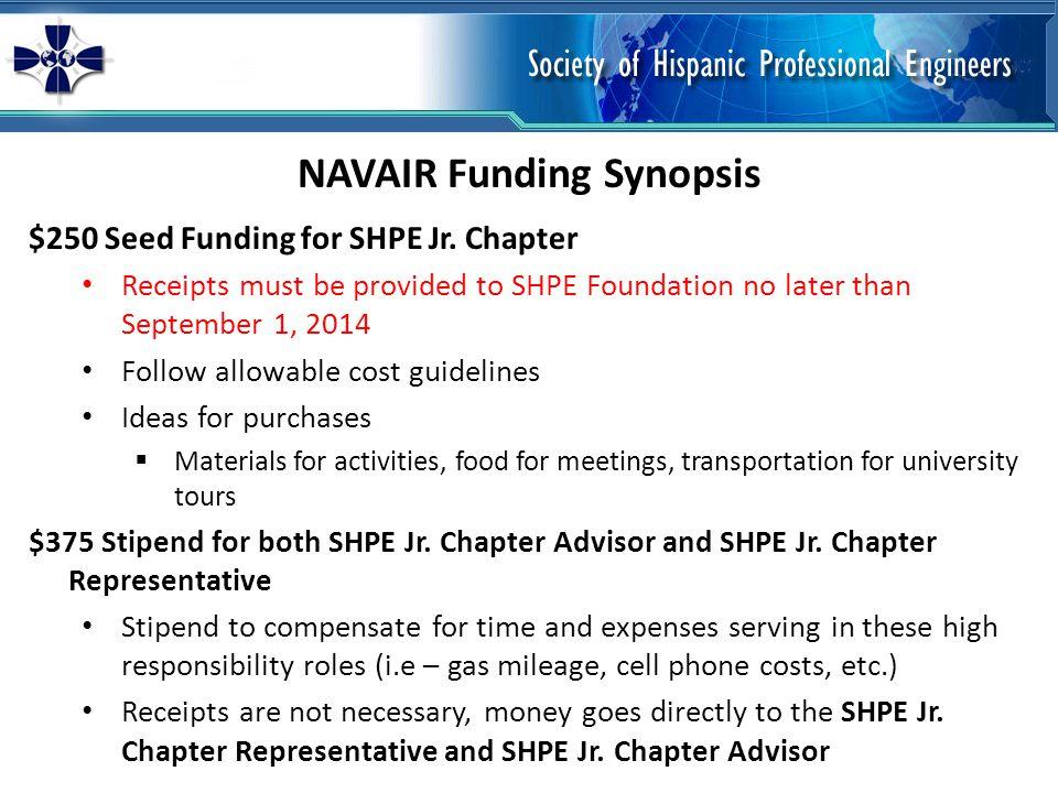 NAVAIR Funding Synopsis $250 Seed Funding for SHPE Jr.