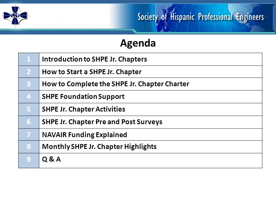 Agenda 1Introduction to SHPE Jr. Chapters 2How to Start a SHPE Jr.