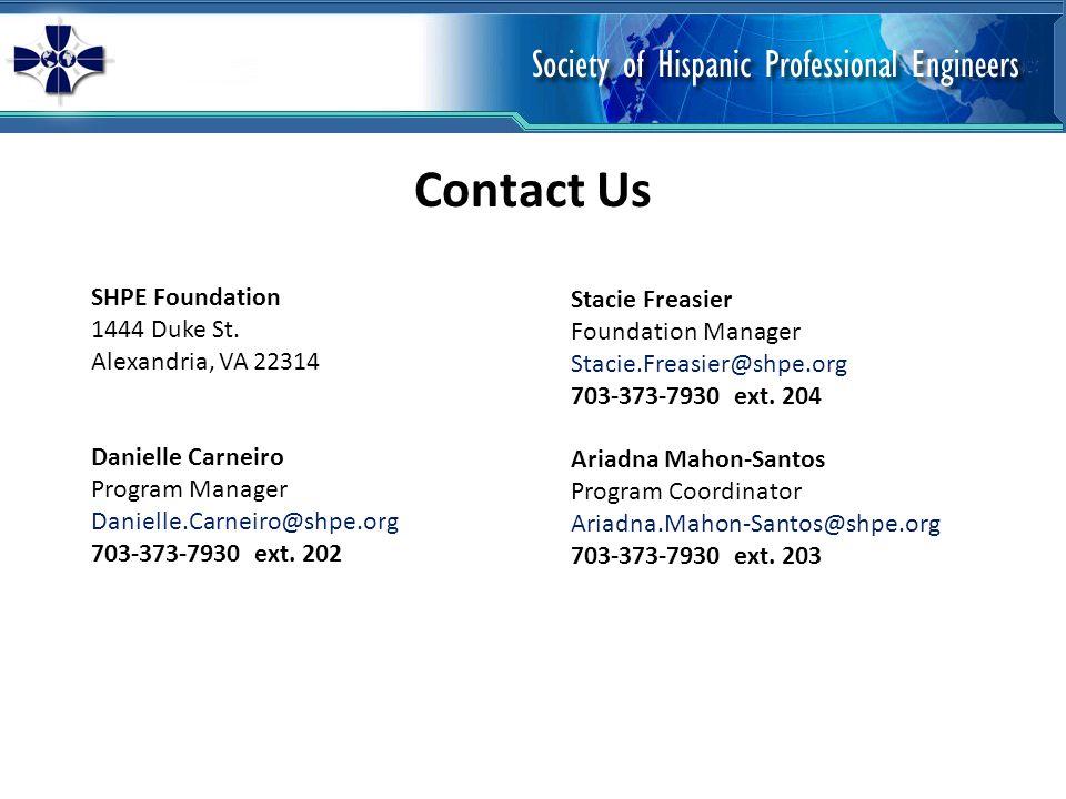 Contact Us SHPE Foundation 1444 Duke St.