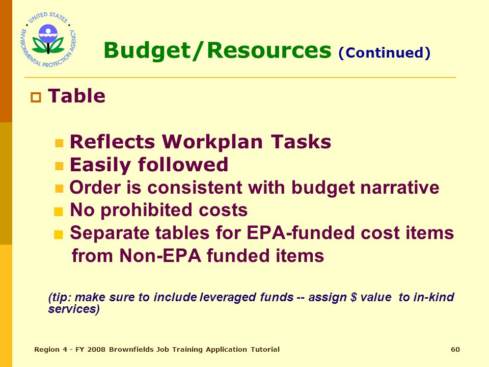 Region 4 - FY 2008 Brownfields Job Training Application Tutorial59 Budget/Resources (pg 28) Total Points - 5  Narrative (tip: should correlate with budget table; include leveraged dollars and in-kind services) Reflects Proposed Workplan Tasks Clearly stated Detailed Reasonable No prohibited costs
