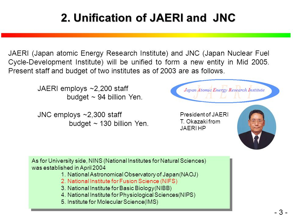 - 3 - JAERI (Japan atomic Energy Research Institute) and JNC (Japan Nuclear Fuel Cycle-Development Institute) will be unified to form a new entity in Mid 2005.