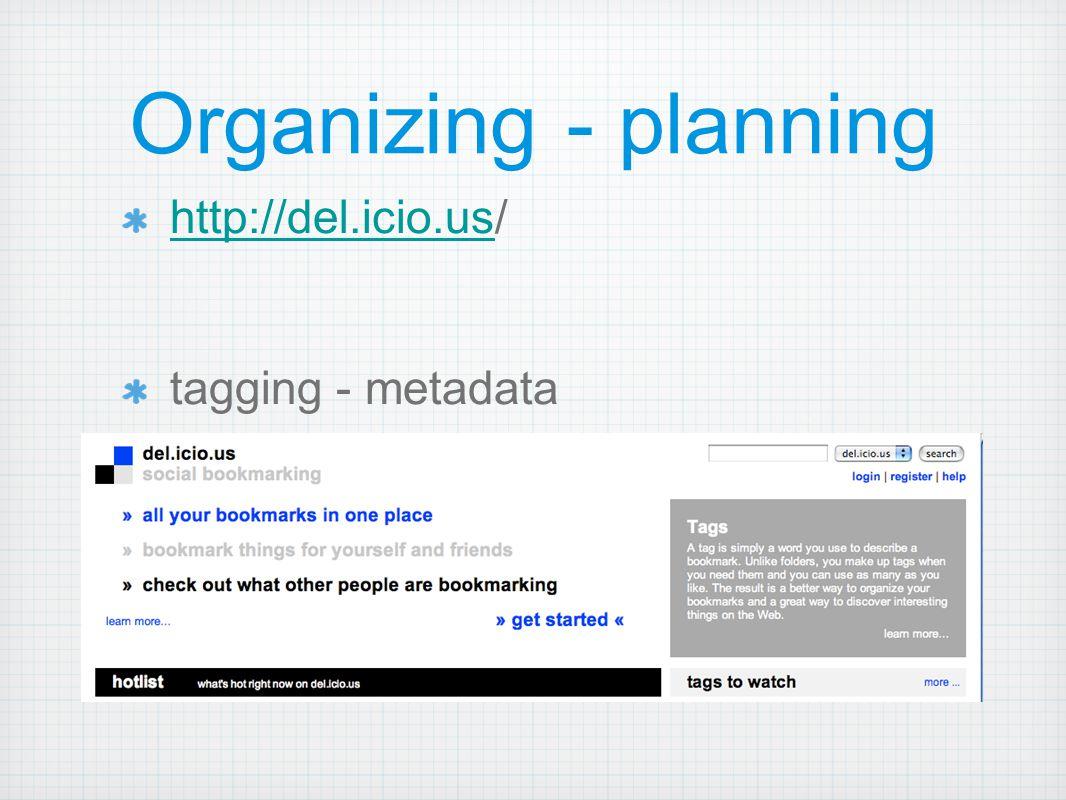 Organizing - planning http://del.icio.ushttp://del.icio.us/ tagging - metadata