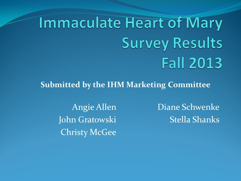 Angie Allen John Gratowski Christy McGee Diane Schwenke Stella Shanks Submitted by the IHM Marketing Committee