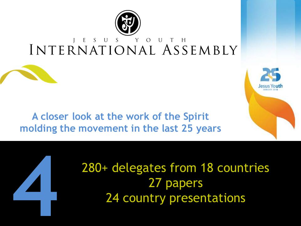 A A closer look at the work of the Spirit molding the movement in the last 25 years 4 280+ delegates from 18 countries 27 papers 24 country presentations