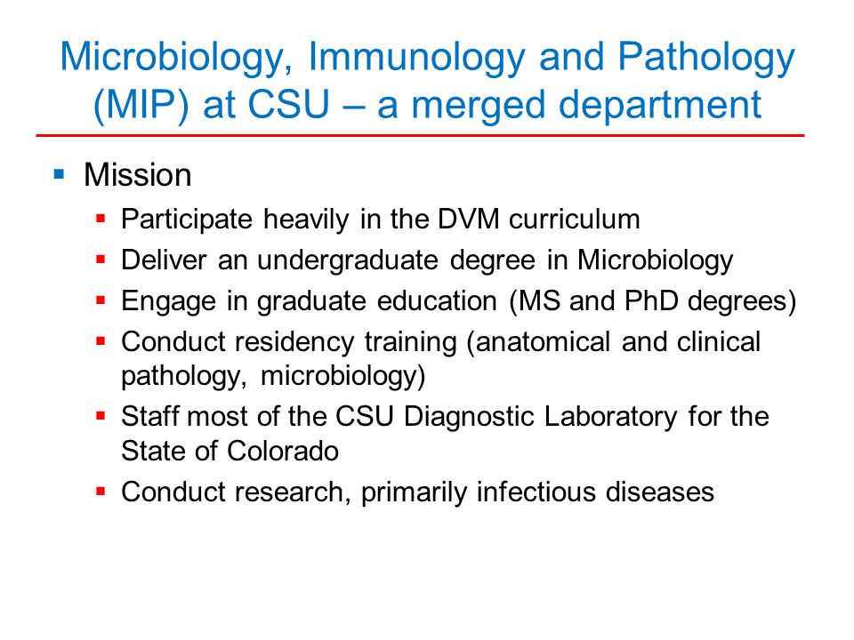 Characteristics of CSU Microbiology, Immunology and Pathology Department  Personnel  Faculty - 69  Staff - 20  Research Associates, Postdocs - 108  Grad students, Residents - 35  DVM and undergraduate students  DVM students - 138  Microbiology undergrad students - 201