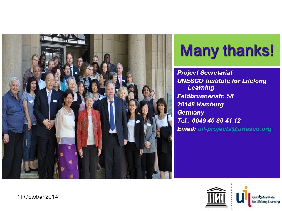 Many thanks! Project Secretariat UNESCO Institute for Lifelong Learning Feldbrunnenstr. 58 20148 Hamburg Germany Tel.: 0049 40 80 41 12 Email: uil-pro