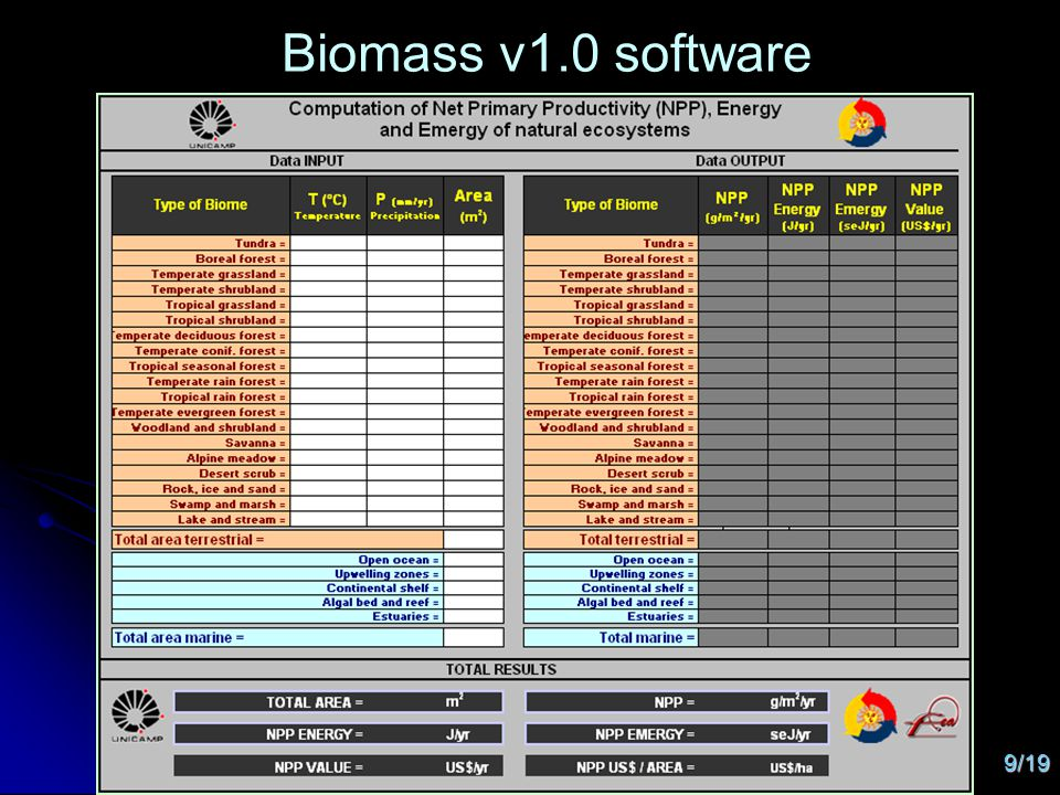 9/19 Biomass v1.0 software