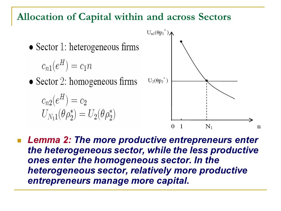 Allocation of Capital within and across Sectors Lemma 2: The more productive entrepreneurs enter the heterogeneous sector, while the less productive o