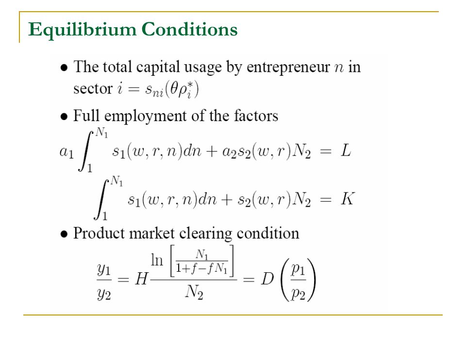 Equilibrium Conditions