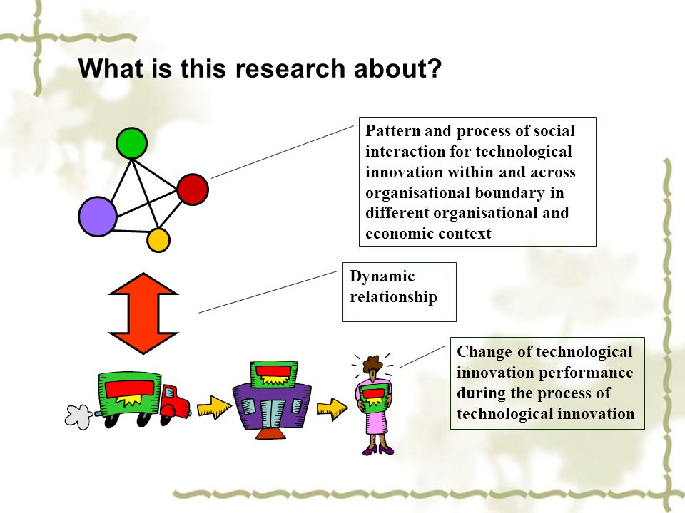 What is this research about? Pattern and process of social interaction for technological innovation within and across organisational boundary in diffe