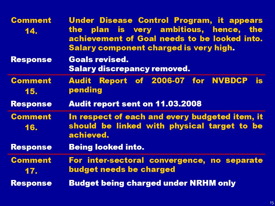Comment 14. Under Disease Control Program, it appears the plan is very ambitious, hence, the achievement of Goal needs to be looked into. Salary compo