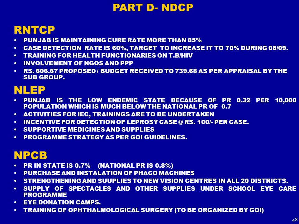 RNTCP PUNJAB IS MAINTAINING CURE RATE MORE THAN 85% CASE DETECTION RATE IS 60%, TARGET TO INCREASE IT TO 70% DURING 08/09.