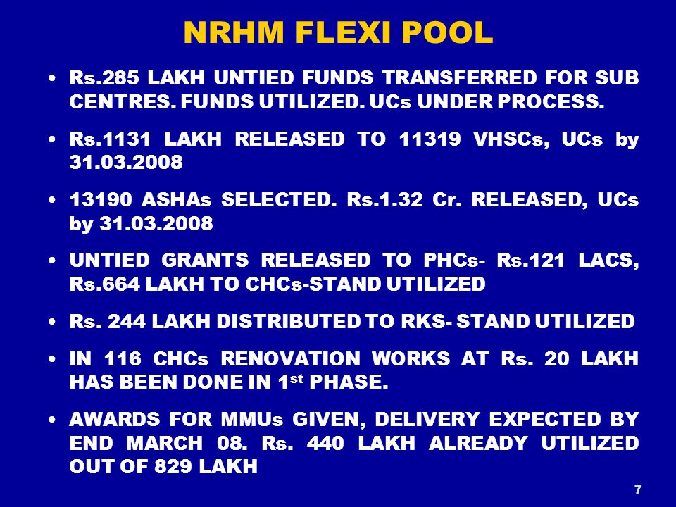 NRHM FLEXI POOL Rs.285 LAKH UNTIED FUNDS TRANSFERRED FOR SUB CENTRES.