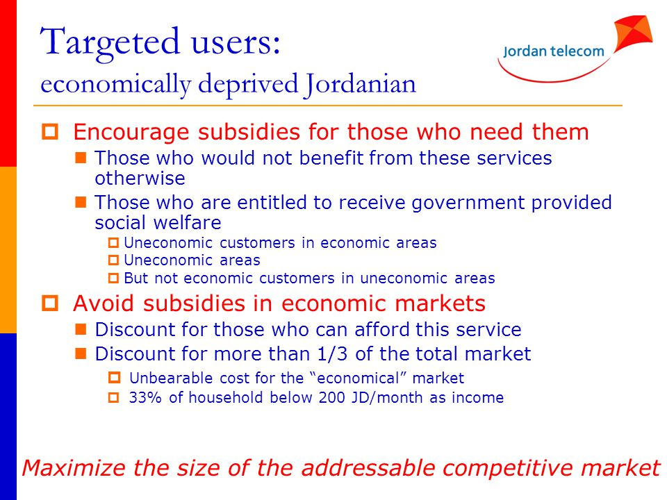 Targeted users: economically deprived Jordanian  Encourage subsidies for those who need them Those who would not benefit from these services otherwis
